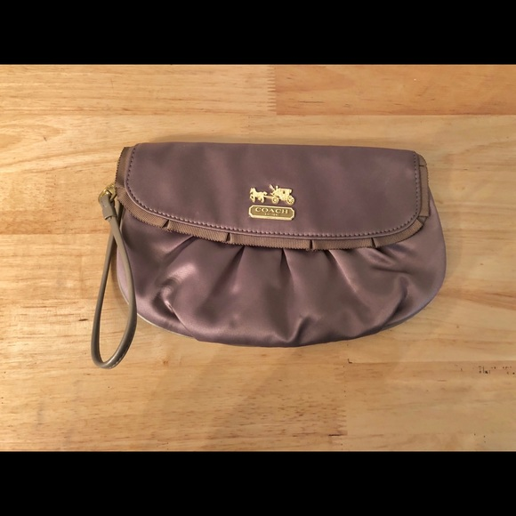 •2 for $35• Taupe satin Coach wristlet